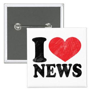 I Love News 2 Inch Square Button