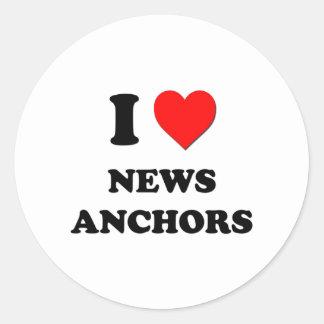 I Love News Anchors Classic Round Sticker