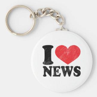 I Love News Basic Round Button Keychain