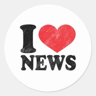 I Love News Classic Round Sticker