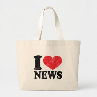 I Love News Large Tote Bag