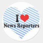 I Love News Reporters Round Sticker