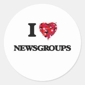 I Love Newsgroups Classic Round Sticker