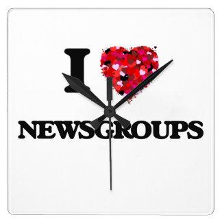 I Love Newsgroups Square Wall Clocks