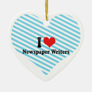I Love Newspaper Writers Double-Sided Heart Ceramic Christmas Ornament