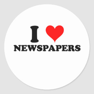 I Love Newspapers Round Sticker