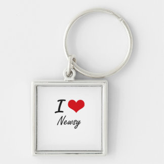 I Love Newsy Silver-Colored Square Keychain