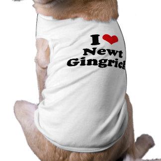 I LOVE NEWT GINGRICH PET TEE SHIRT