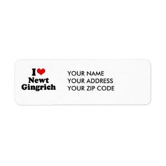 I LOVE NEWT GINGRICH CUSTOM RETURN ADDRESS LABELS