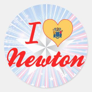 I Love Newton, New Jersey Round Sticker