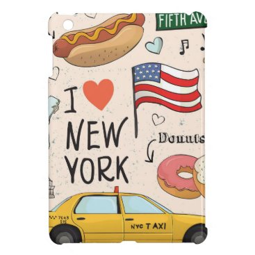 I love NewYork Taxi Yellow Taxi Doughnuts HotDog Case For The iPad Mini