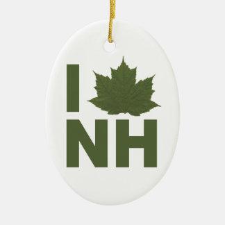 I Love NH Ceramic Ornament