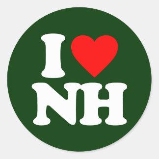 I LOVE NH CLASSIC ROUND STICKER