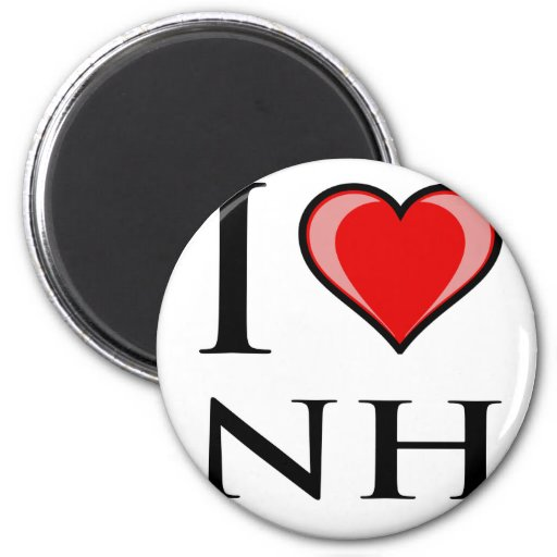 I Love NH - New Hampshire 2 Inch Round Magnet