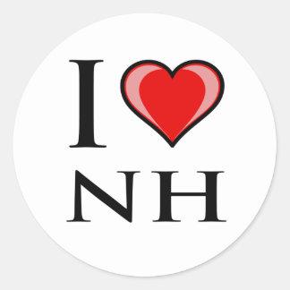 I Love NH - New Hampshire Classic Round Sticker