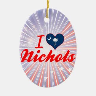 I Love Nichols, South Carolina Double-Sided Oval Ceramic Christmas Ornament