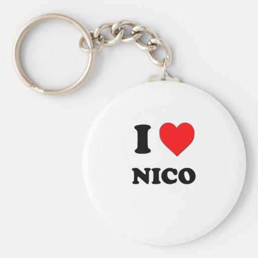 I love Nico Basic Round Button Keychain