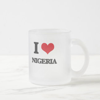 I Love Nigeria 10 Oz Frosted Glass Coffee Mug
