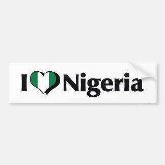 I Love Nigeria Flag Bumper Sticker
