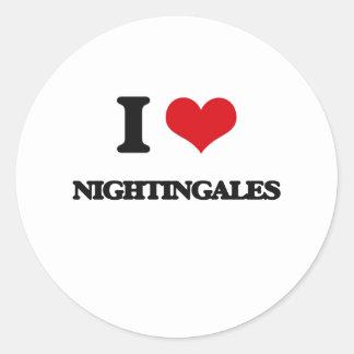 I Love Nightingales Round Stickers