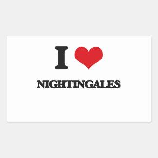 I Love Nightingales Rectangle Sticker