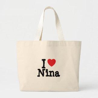 I love Nina heart T-Shirt Large Tote Bag