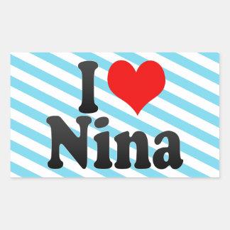I love Nina Rectangular Sticker