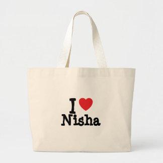 I love Nisha heart T-Shirt Tote Bags
