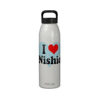 I Love Nishio, Japan Water Bottles