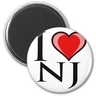 I Love NJ - New Jersey 2 Inch Round Magnet