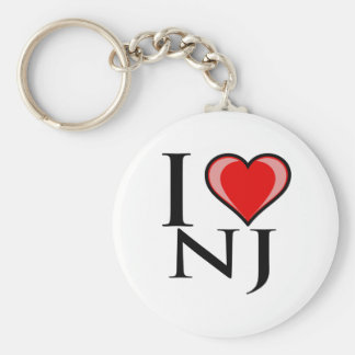 I Love NJ - New Jersey Basic Round Button Keychain