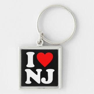 I LOVE NJ Silver-Colored SQUARE KEYCHAIN