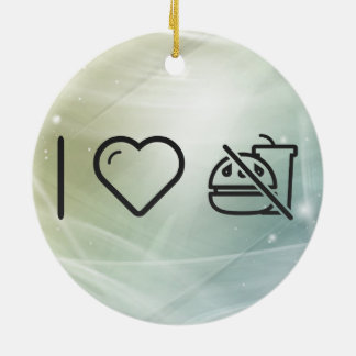 I Love No Junkfood Sign Double-Sided Ceramic Round Christmas Ornament