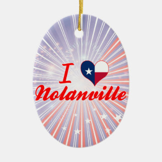 I Love Nolanville, Texas Double-Sided Oval Ceramic Christmas Ornament