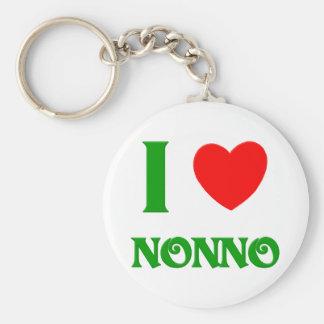I Love Nonno (Italian Grandfather) Basic Round Button Keychain