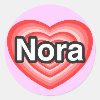 I love Nora. I love you Nora. Heart Classic Round Sticker