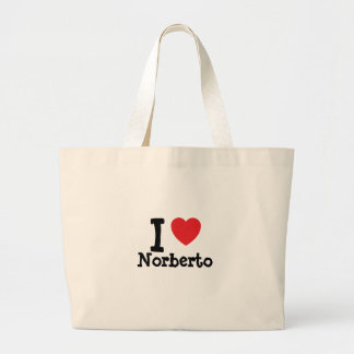 I love Norberto heart custom personalized Tote Bags