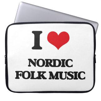 I Love NORDIC FOLK MUSIC Laptop Computer Sleeve