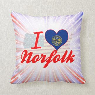 I Love Norfolk, Nebraska Throw Pillow