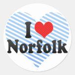 I Love Norfolk Round Sticker