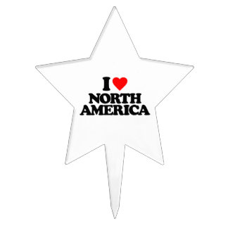 I LOVE NORTH AMERICA CAKE TOPPERS