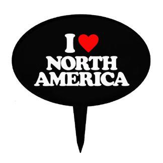I LOVE NORTH AMERICA CAKE TOPPER