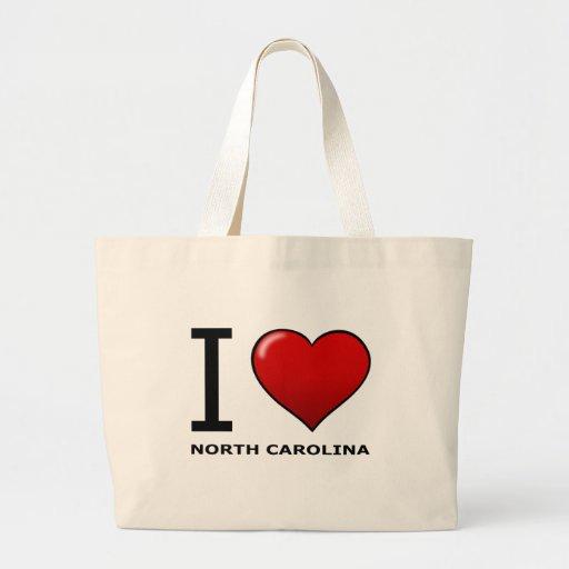 I LOVE NORTH CAROLINA CANVAS BAGS
