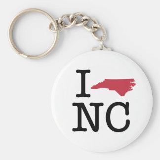 I Love North Carolina Basic Round Button Keychain