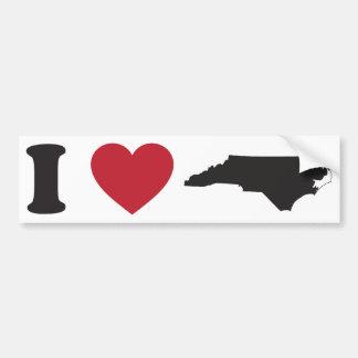 I Love North Carolina Car Bumper Sticker