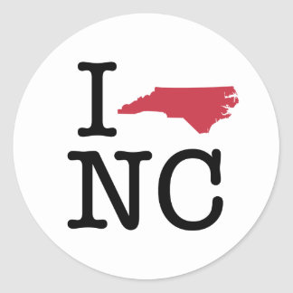 I Love North Carolina Classic Round Sticker