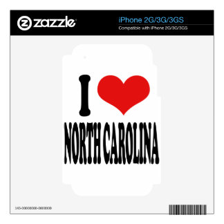 I Love North Carolina Decal For The iPhone 3GS