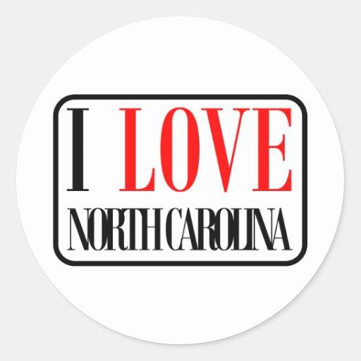 I Love North Carolina Design Classic Round Sticker