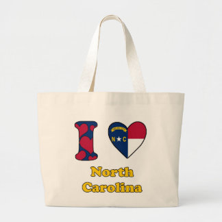 I love North Carolina Jumbo Tote Bag