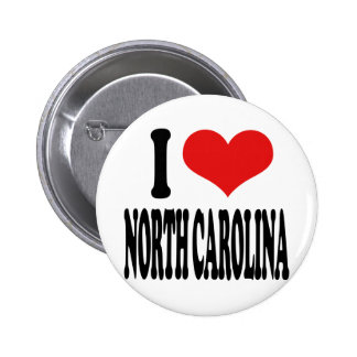 I Love North Carolina Pinback Buttons